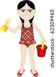 Raster version of Asian girl in swimsuit with sand bucket and shovel. - stock photo
