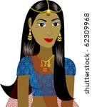 Raster version of Indian Girl Avatar. See others in this series. - stock photo