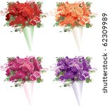 Raster version Illustration of 4 bouquets of roses. - stock photo