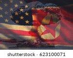 usa vs. north korea   graphic... | Shutterstock . vector #623100071