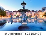 lisbon  portugal at rossio... | Shutterstock . vector #623103479