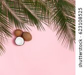 palm leaves and coconuts whole... | Shutterstock . vector #623108525
