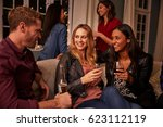 group of friends with drinks... | Shutterstock . vector #623112119