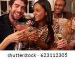 group of friends with drinks... | Shutterstock . vector #623112305
