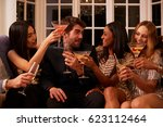 group of friends with drinks... | Shutterstock . vector #623112464