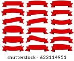 ribbon red vector icon on white ... | Shutterstock .eps vector #623114951