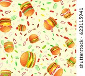 seamless pattern tasty burger... | Shutterstock .eps vector #623115941