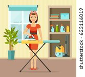 smiling girl ironing clothes... | Shutterstock .eps vector #623116019