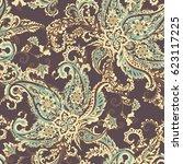 damask paisley seamless vector...   Shutterstock .eps vector #623117225