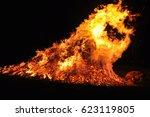 hot dangerous fire | Shutterstock . vector #623119805