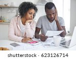 stressed african american... | Shutterstock . vector #623126714