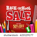 back to school sale banner... | Shutterstock .eps vector #623129177