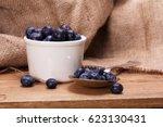 pot of blueberries with spoon...   Shutterstock . vector #623130431