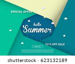 summer sale colorful background.... | Shutterstock .eps vector #623132189
