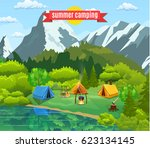 tourist tent and green meadow ... | Shutterstock .eps vector #623134145