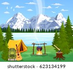 tourist tent and green meadow ... | Shutterstock .eps vector #623134199