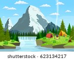 tourist tent and green meadow ... | Shutterstock .eps vector #623134217