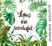 raster tropical watercolor...   Shutterstock . vector #623147279