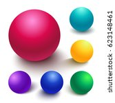 set of colorful spheres  matte... | Shutterstock .eps vector #623148461