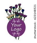 logo. bouquet of small shrubby... | Shutterstock .eps vector #623148521