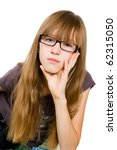 teenager in glasses - stock photo