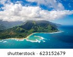 aerial view on napali coast on... | Shutterstock . vector #623152679