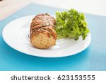 piece of appetizing seitan with ... | Shutterstock . vector #623153555