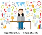 color vector flat design man... | Shutterstock .eps vector #623155325