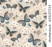 seamless pattern with flying... | Shutterstock .eps vector #623157215
