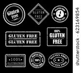 gluten free grunge rubber... | Shutterstock .eps vector #623169854