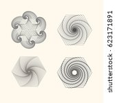 circular patterns with guilloche   Shutterstock .eps vector #623171891