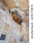 Small photo of Old hermit abode on rock at St George Orthodox Monastery, located in Wadi Qelt, Israel