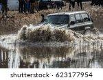 Jeep Speeding Throug The Water