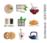asian food colorful flat icons... | Shutterstock .eps vector #623178605