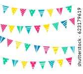 colorful decoration flags... | Shutterstock .eps vector #623179619