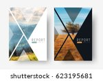 Cover template for a report in a minimalistic style with triangular design elements for a photo. set of modern flyers for business or trips with photos of mountains and landscapes. mosaic for a sample | Shutterstock vector #623195681