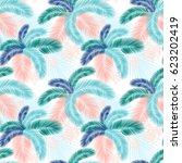 seamless pattern of tropical...   Shutterstock . vector #623202419