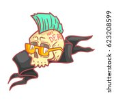 punk skull wearing glasses.... | Shutterstock .eps vector #623208599