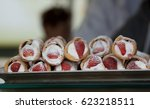 cannoli with strawberries ... | Shutterstock . vector #623218511