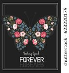 butterfly print with flower and ... | Shutterstock .eps vector #623220179