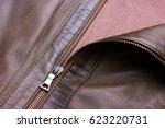 brown leather jacket closeup | Shutterstock . vector #623220731