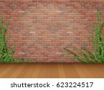 ivy branches on old red brick... | Shutterstock .eps vector #623224517