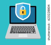 laptop with shield and lock on... | Shutterstock .eps vector #623228804