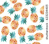 seamless pineapple graphic | Shutterstock . vector #623234405