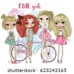 cute cartoon hipster girls | Shutterstock .eps vector #623243165