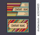 business card template with 3d... | Shutterstock .eps vector #623244035