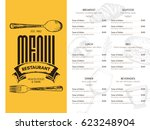 restaurant menu design. vector... | Shutterstock .eps vector #623248904