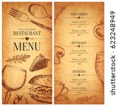 restaurant menu design. vector... | Shutterstock .eps vector #623248949