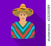 mexican man in sombrero and... | Shutterstock .eps vector #623250389