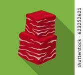 diced beef icon in flat style... | Shutterstock .eps vector #623252621